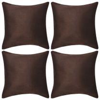 Kussenhoezen 4 stuks bruin imitatie sude 50x50 cm polyester