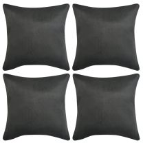 Kussenhoezen 4 stuks antraciet 40 x 40 cm imitatiesude polyester