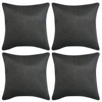 Kussenhoezen 4 stuks antraciet 50 x 50 cm imitatiesude polyester