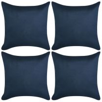 Kussenhoezen 4 stuks marineblauw imitatie sude 40x40 cm polyester