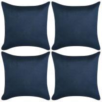 Kussenhoezen 4 stuks marineblauw imitatie sude 50x50 cm polyester