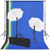 Fotostudio set met 5 gekleurde achtergronden & 2 paraplu's