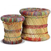 Krukkenset met chindi details bamboe meerkleurig 2-delig