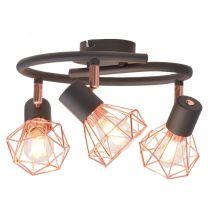 Plafondlamp met 3 spotlights E14 zwart en koperkleurig