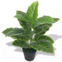 Kunst taro plant met pot 45 cm groen