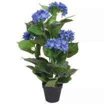 Kunst hortensia plant met pot 60 cm blauw