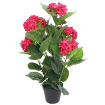 Kunst hortensia plant met pot 60 cm rood