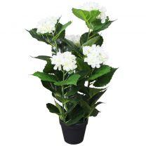 Kunst hortensia plant met pot 60 cm wit