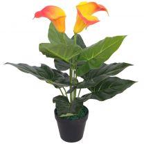 Kunst calla lelie plant met pot 45 cm rood en geel