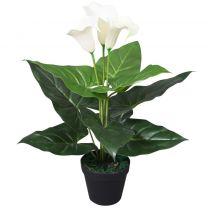 Kunst calla lelie plant met pot 45 cm wit