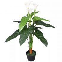 Kunst calla lelie plant met pot 85 cm wit