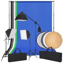 Fotostudioset met softbox lampen, achtergronden en reflector