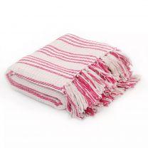 Plaid strepen 220x250 cm katoen roze en wit