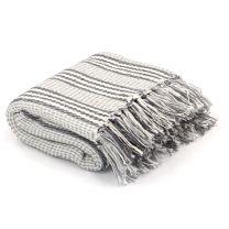 Plaid strepen 160x210 cm katoen grijs en wit