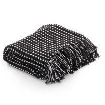 Plaid vierkanten 160x210 cm katoen zwart