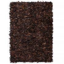 Tapijt shaggy hoogpolig 120x170 cm echt leer bruin