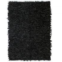 Tapijt shaggy hoogpolig 120x170 cm echt leer zwart