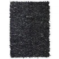 Tapijt shaggy hoogpolig 120x170 cm echt leer grijs