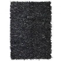 Tapijt shaggy hoogpolig 190x280 cm echt leer grijs