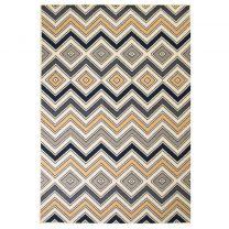 Vloerkleed modern zigzag ontwerp 160x230 cm bruin/zwart/blauw