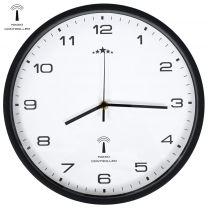 Wandklok met quartz uurwerk radiogestuurd 31 cm wit en zwart