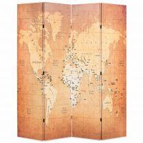 Kamerscherm inklapbaar wereldkaart 160x170 cm geel