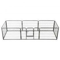 Hondenren met 8 panelen 60x80 cm staal zwart