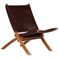 Relaxstoel 59x72x79 cm echt leer bruin