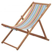Strandstoel inklapbaar stof en houten frame meerkleurig