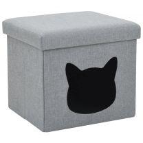 Kattenbed inklapbaar 37x33x33 cm kunstlinnen grijs