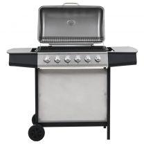 Gasbarbecue met 6 kookzones roestvrij staal zilverkleurig