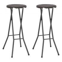 Barstoelen inklapbaar rattan-look 35x44x80 cm HDPE bruin 2 st