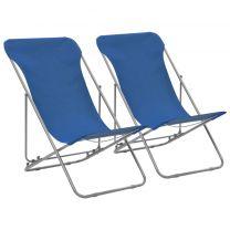 Strandstoelen inklapbaar staal en oxford stof blauw 2 st