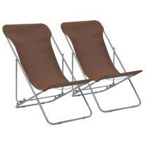 Strandstoelen inklapbaar staal en oxford stof bruin 2 st