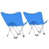 Vlinderstoelen inklapbaar blauw 2 st