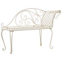Chaise longue met krulpatroon metaal antiek wit