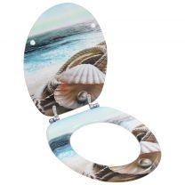 Toiletbril met soft-close deksel MDF schelpen print