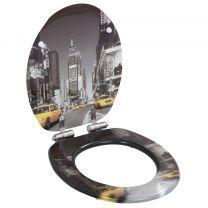 Toiletbril met soft-close deksel MDF New York print