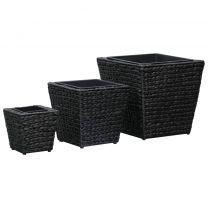 Plantenbakken 3 st waterhyacint zwart