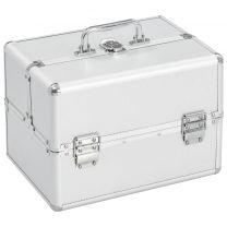 Make-up koffer 22x30x21 cm aluminium zilverkleurig