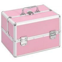 Make-up koffer 22x30x21 cm aluminium roze