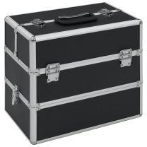 Make-up koffer 37x24x35 cm aluminium zwart