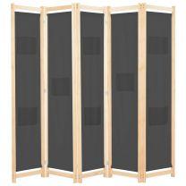 Kamerscherm met 5 panelen 200x170x4 cm stof grijs