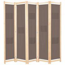 Kamerverdeler met 5 panelen 200x170x4 cm stof bruin