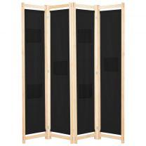 Kamerscherm met 4 panelen 160x170x4 cm stof zwart
