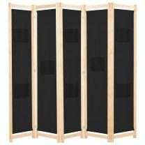 Kamerverdeler met 5 panelen 200x170x4 cm stof zwart