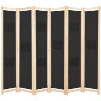 Kamerscherm met 6 panelen 240x170x4 cm stof zwart