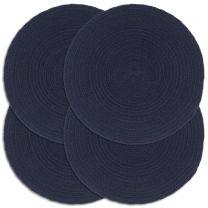 Placemats 4 st rond 38 cm katoen effen marineblauw