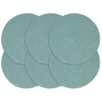 Placemats 6 st rond 38 cm katoen effen groen