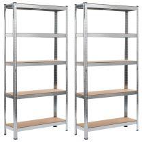 Opbergrekken 2 st 90x30x180 cm staal en MDF zilverkleurig